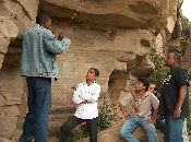 Listening to the Guide, from left in white: Mazhar, Asim,  Navaid and Yaseen.